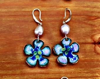 Hand made enamel flower earring with semi precious stones and seed beads