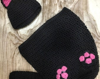 crochet cat outfit, newborn cat swaddle, black cat hat, newborn black cat outfit, baby cat hat, black car photo prop, crochet black cat hat.