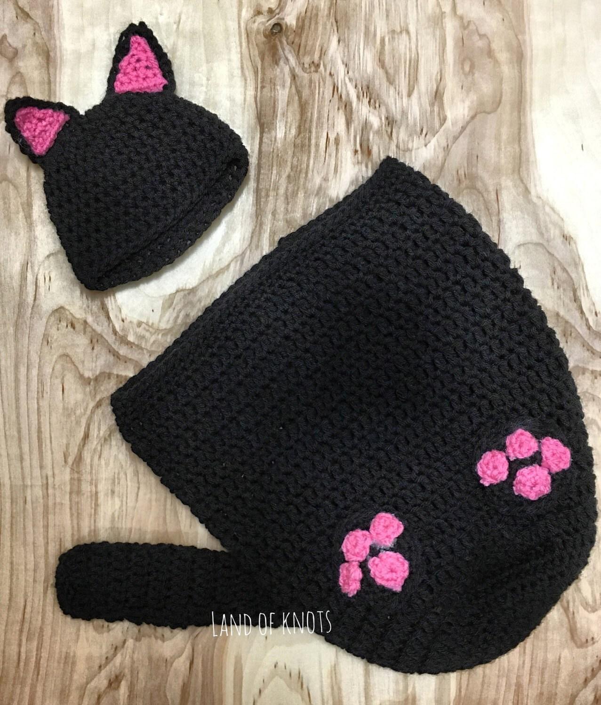 Crochet Cat Outfit Newborn Cat Swaddle Black Cat Hat