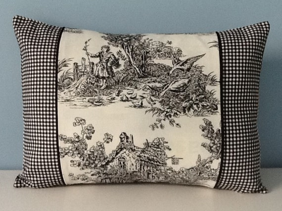 Black toile pillow cover French Country Shabby chic decor