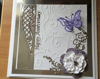 Handmade Butterfly Embossed Card 6x6