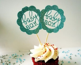 Baby shower cupcake toppers, baby boy, baby girl, blue glitter set of 12, cake topper, birthday party
