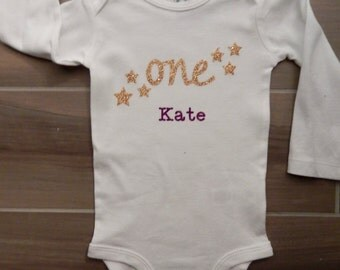 Glitter One First Birthday Star Shirt - Personalized with Name and Age