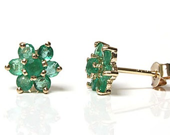Solid 9ct Gold Emerald cluster stud earrings S1769