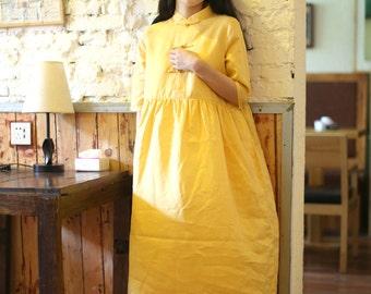 Linen yellow maxi dress BonLife