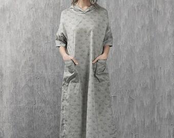 Print bear pattern playful maxi cotton dress   BonLife