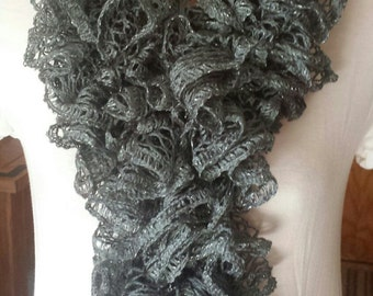 Ruffle Scarf - Gray w/Hint of Silver