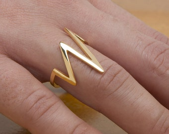 Silver Heartbeat Ring, Gold Heartbeat, Lightning Bolt, 925 Sterling Silver