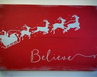 Believe Santa's Sleigh Silver Metallic Wood Home Decor Sign