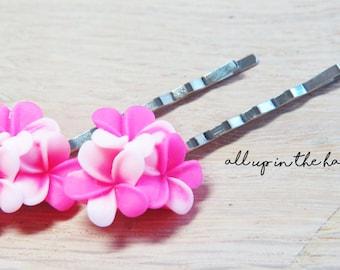 Flower Bobby Pins - Pink Plumeria Bobby Pins - Pink Bobby Pins - Pink Flower Bobby Pins -Tropical Flower Bobby Pins