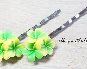 Flower Bobby Pins - Yellow Plumeria Bobby Pins - Green Bobby Pins - Yellow Flower Bobby Pins - Tropical Flower Bobby Pins