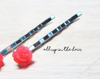 Red Rose Bobby Pins - Red Rose Hair Pins