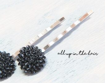 Black Flower Bobby Pins - Black Hair Pins - Black Mum Bobby Pins