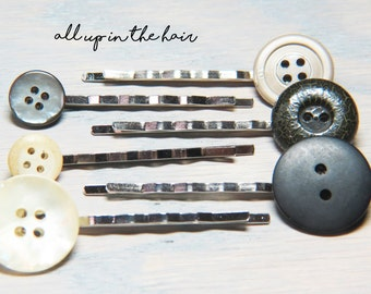 Grey Bobby Pins - White Bobby Pins - Vintage Button Bobby Pins - White Hair Pins - Grey Hair Pins - Christmas Gift - Stocking Stuffer