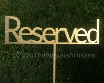 Reserved Table Signs. Reserved Laser Cut Signs. Set of 5 - Gold - Silver - DIY. Wedding Reserved Sign.