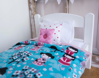 "Japanese doll bedding, Doll bed bedding, 18"" doll bedding set, japanese girl,  pink and blue, girls gift, birthday present, christmas gift"