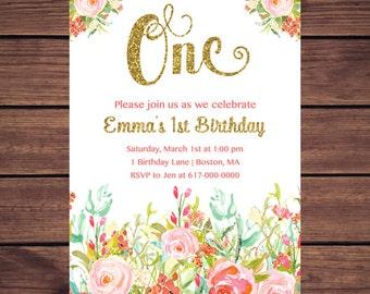 Floral 1st Birthday Invitation Girl, Any Age Floral Coral Gold First Birthday Invitation, Girl 1st ONE Birthday Printable JPEG 896