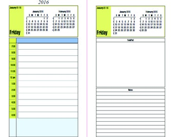 Filofax Personal Daily Planner with Schedule Tasks Notes 2016
