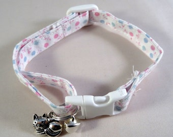 Cat Collar // white with pink & blue polka dot