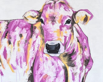 Cow Painting | Cow Art by Aidan Weichard | Original Painting on Canvas | Animal Art |  'Estelle' 91 x 91cm |