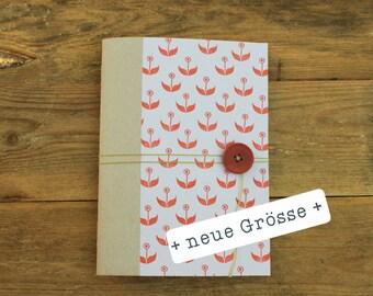 handmade note-book flowers red