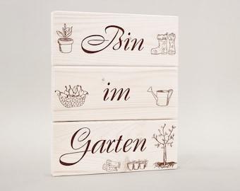 """Door sign, wooden """"bin in the garden"""" garden sign"""
