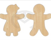 Unfinished Wood Gingerbread Boy and Girl Laser Cutout, Wreath Accent, Door Hanger, Ready to Paint & Personalize, Various Sizes