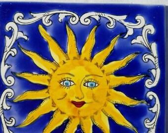 Hand Painted Bright Sun Tile