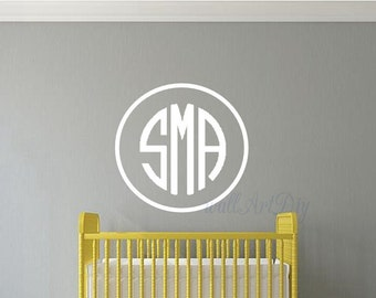 Monogram wall decals Circle monogram wall decals Bedroom monogram wall sticker Personalized monogram wall decal Initial monogram wall decals