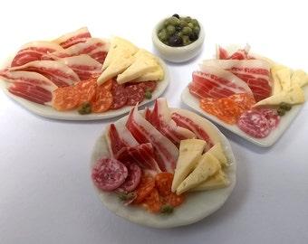 Dolls House Food: Miniature Food - Handmade, Realistic;  Spanish Tapas / Antipasti ; Serrano Ham; Salami, Manchego; Deli Meats Cheese.  OOAK