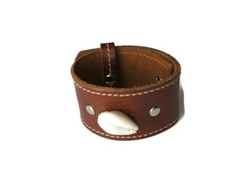 Cowrie & Stud Leather Wrist Cuff/Gifts for him/Gifts for her