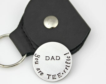 DAD GOLF Ball MARKER - you are tee-rrific! Magnetic Stainless Steel in Leather Pouch