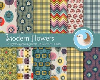 Floral Digital Paper Set - Modern Floral Digital Paper - Flowers Digital Paper - Set of 12 Digital Scrapbooking Papers