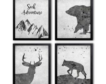 Forest Animal Art Prints, Animal Nursery Wall Art, Kids Adventure Quote, Wolf, Bear, Stag