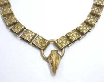 Antique Victorian Gilt Brass Mesh Quilt Pattern Link Necklace