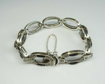 Sterling Silver Onyx Marcasite Large Oval Link Bracelet with Safety clasp