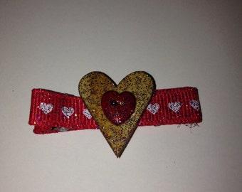 Heart embillisment on ribbon lined alligator clip