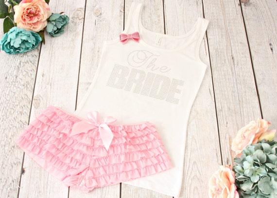 The Bride Lingerie Set. Bride Tank Top and Ruffled Boyshorts. Bridal Lingerie. Bride Pajama Set. Bride Lingerie. Bridal Boudoir Outfit