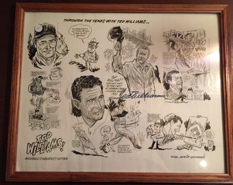Rare Ted Williams Lithograph Signed and Authenticated w/ COA
