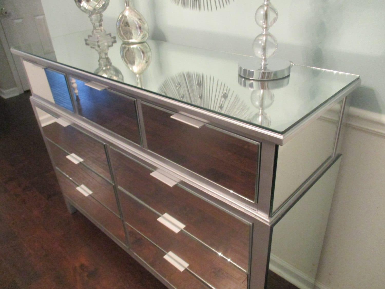 Metallic Silver Mirrored Dresser Or Buffet Sleek Modern