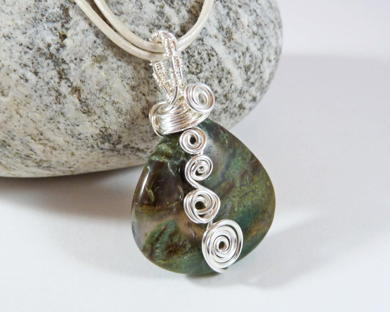 wire wrapped pendant gemstone necklace snakeskin jasper