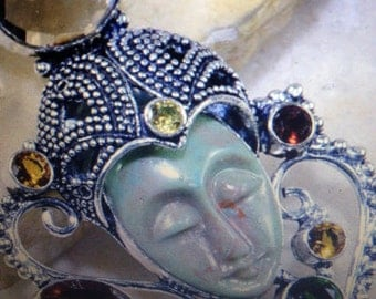 Beautiful Handcrafted Genuine Goddess Carved Face Pendant In Sterling Silver