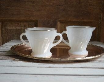 Milk Glass Cream and Sugar set, Vintage Anchor Hocking Milk glass creamer set, Gold rimmed milk glass