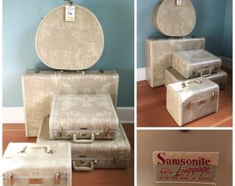 Vintage Samsonite Streamlite 5 Piece Set Of Luggage, Marbled Beige Matching Suitcases, Mid Century Luggage Set, With Keys.