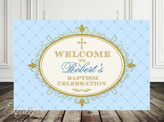 Christening Backdrop Baptism Sign Baby shower 1st by EniPixels