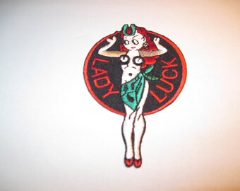 """Lady Luck Iron on Patch 3 1/1"""" X 2 1/4"""""""
