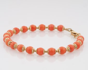 Coral bracelet,yellow gold coral bracelet,coral beaded bracelet with coral beads,made of 14k  gold filled,yellow gold.