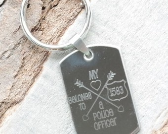 My Heart Belongs to a Police Officer Personalized Engraved Key Chain Gift
