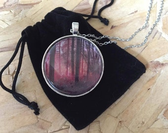 Pink forrest photo necklace, woods photo, occult, mystic, jewelry, silver, pendant, photo pendant, photo jewelry, pink misty forrest