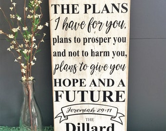 """For I Know The Plans I Have For You, Personalized Wedding Sign, Rustic Sign, Wedding Gift, Religious, 11x24"""""""